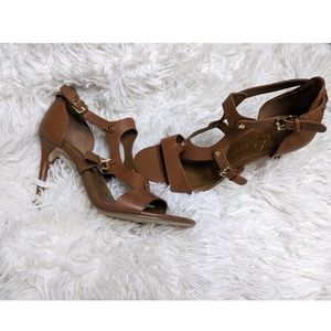 Ivanka Trump | Brown Gold Leather Strappy Heels